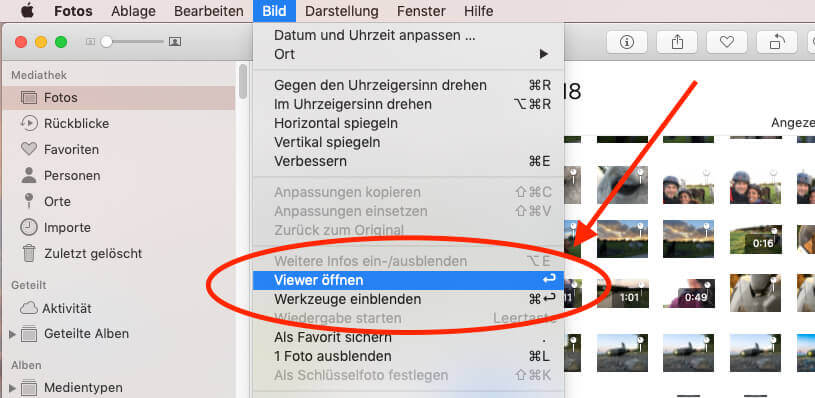 Seit neuestem muss man in der Fotos App die Enter-Taste als Shortcut nutzen, um den Viewer zu öffnen – total unpraktisch!