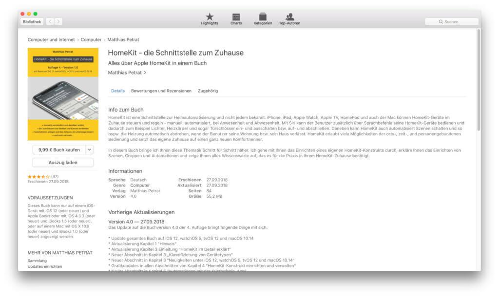 Das HomeKit-Buch bei Apple iBooks. Im obigen Absatz findet ihr den Link zu weiteren Informationen und zum Download.
