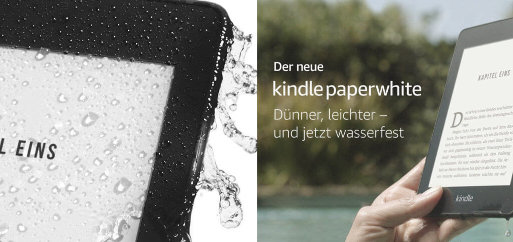 Der neue Kindle Paperwhite 10. Generation 2018 ist wasserdicht, hat eine lange Akkulaufzeit und spielt auch Audible-Inhalte wie Hörbücher, Podcasts und Hörspiele per Bluetooth ab. Mit WLAN und 4G LTE ohne Mac und PC nutzbar. Bilder: Amazon
