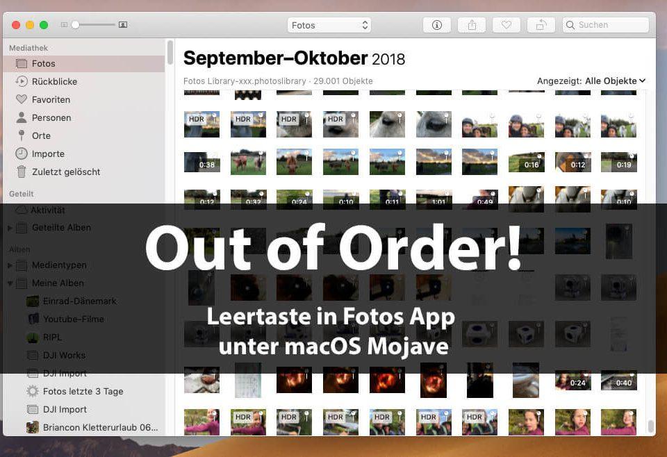 Seit dem Update auf macOS Mojave funktioniert die Leertaste nicht mehr, um sich schnell ein Foto in der Fotos App anzuschauen und wieder zu schließen.