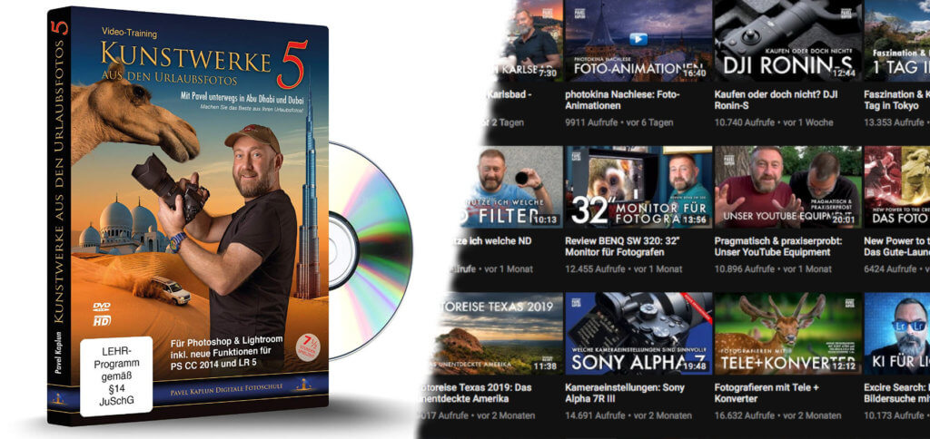 Kunstwerke aus den Urlaubsfotos 5 von Pavel Kaplun ist eine DVD mit über 7,5 Stunden Lehr-Videos zur Fotobearbeitung in Lightroom und Photoshop. Weitere Foto-Tutorials, Anleitungen, Tipps und Tricks gibt's auf dem YouTube-Kanal des Profis.