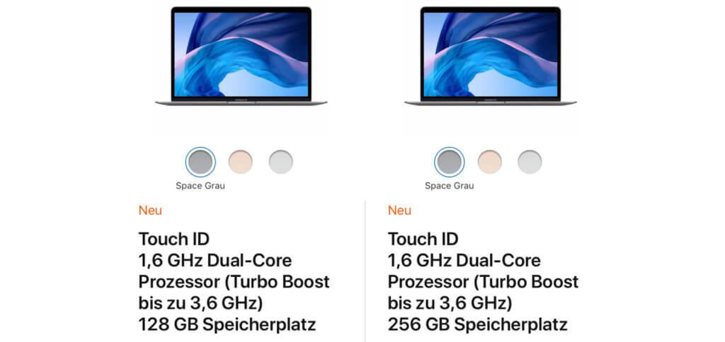 Die beiden Kauf-Möglichkeiten, die man im Apple Store auswählen und konfigurieren kann.
