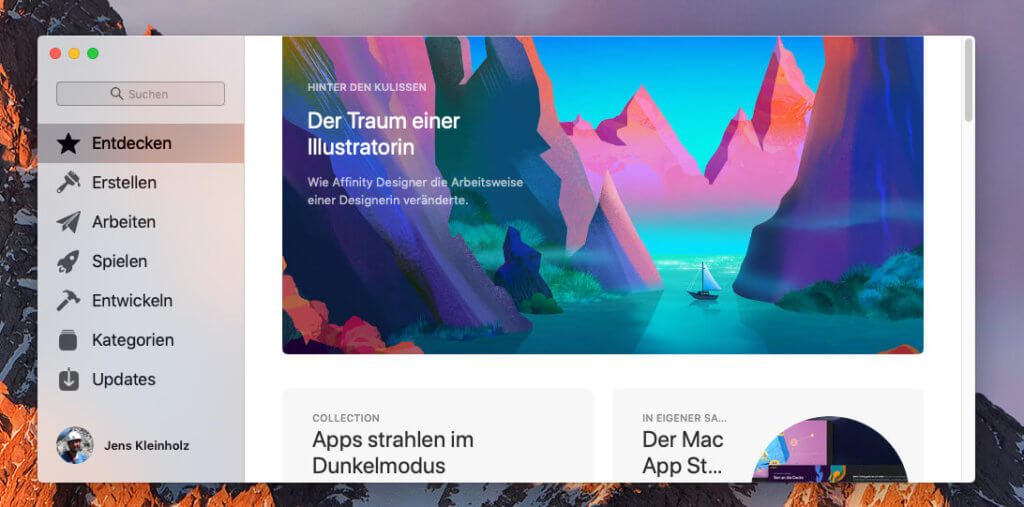 So sieht der Mac App Store im besten Fall aus: Das neue Design und tagesaktuelle Beiträge und App-Tipps.