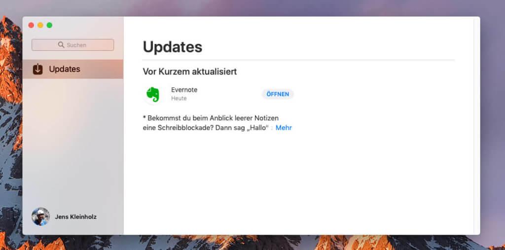 Irgendwie seltsam leer: Mein Mac App Store zeigt nur noch den Bereich