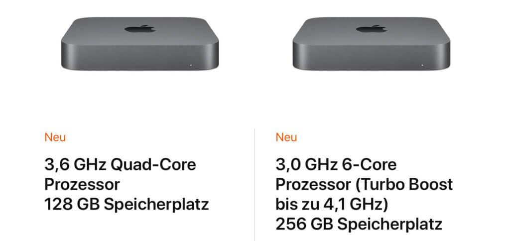 Die beiden Auswahlmöglichkeiten des Mac Mini im Apple Store. Konfigurationen sind nach der Auswahl eines Modells möglich.