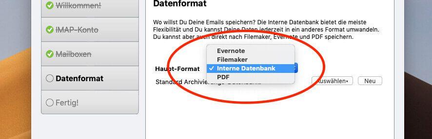 Bei der Sicherung der Daten zeigt sich Mail Archiver X flexibel und bietet direkt mehrere Format an.
