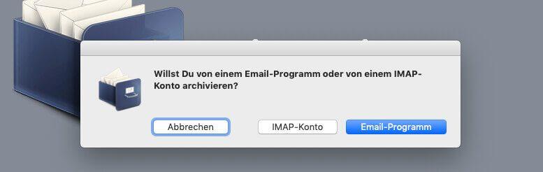 Als erstes muss man die Auswahl treffen, welche Mails gesichert werden sollen.