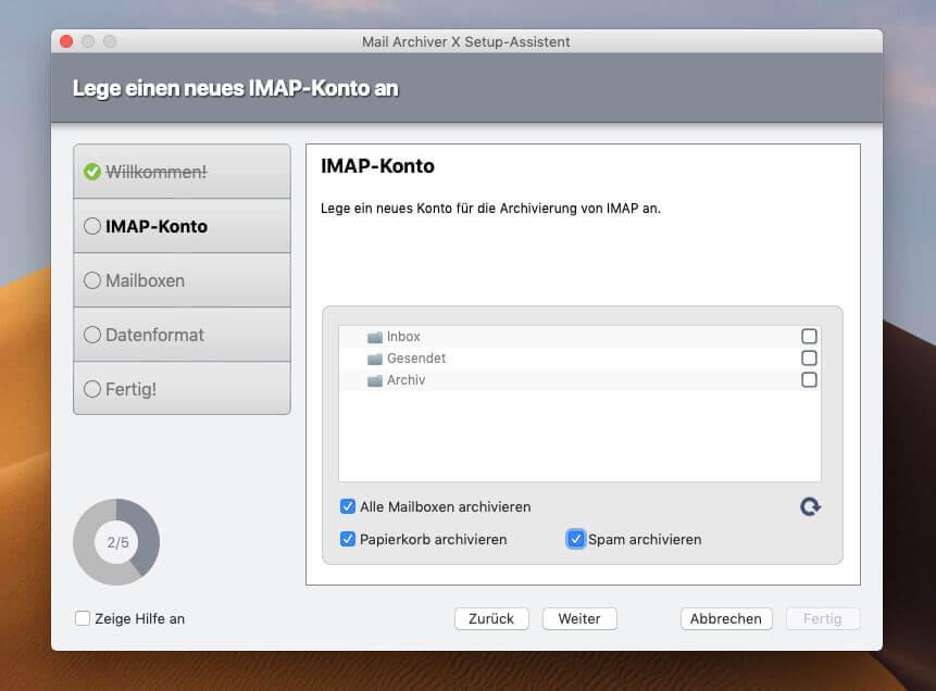 Um nicht alle Ordner sichern zu müssen, kann man beim Einrichten des IMAP-Postfachs die Ordner wählen, die gespeichert werden sollen.