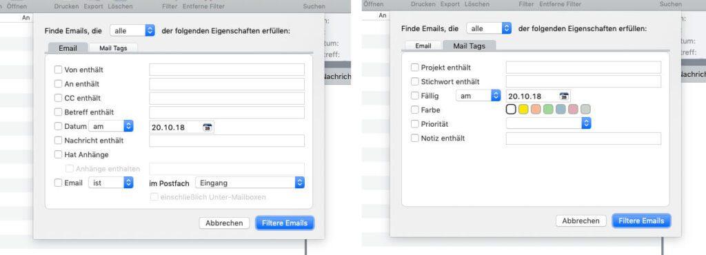 Die Filtermöglichkeiten im Mail-Viewer-Fenster.