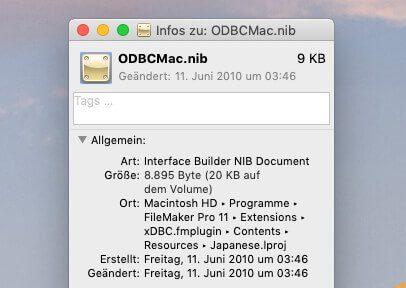 Öffnet man die Informationen zu einer NIB-Datei, sieht man bei mir, dass die Datei aus 2010 stammt.