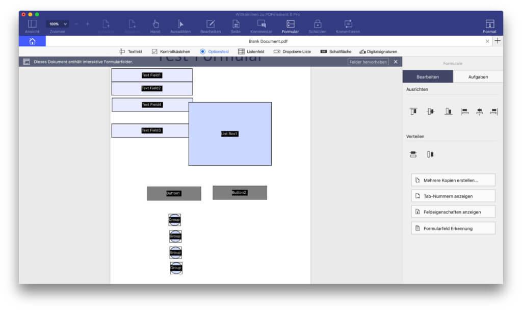 Um Ordnung in die eingefügten Objekte zu bringen, gibt es ein paar Schaltflächen für die Ausrichtung zu- und aneinander, aber keine Lineale, Gitter oder andere Annehmlichkeiten.