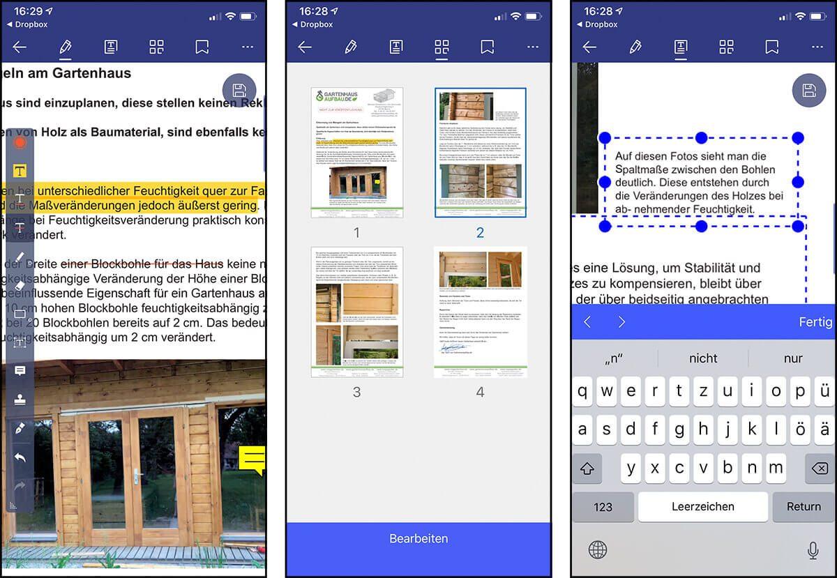 Hier sieht man drei Screenshots von PDFelement auf meinem iPhone: Links ist die Ansicht in der man die PDFs mit Markierungen, Notizen, Unterschriften und ähnlichem versehen kann. In der Mitte ist die Miniaturansicht mit allen Seiten. Rechts sieht man den Bearbeiten-Modus, in dem die Textblöcke samt Inhalt editierbar sind.