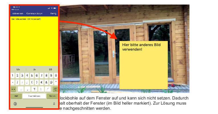 Am iPhone (links im Bild) erstellt man zum Beispiel auch Anmerkungen, die dann an einer beliebigen Stelle im PDF als kleine gelbe Sprechblase angezeigt werden können. Klickt man darauf, öffnet sich – auch am Mac – ein gelbes Fenster mit dem hinterlegten Text.
