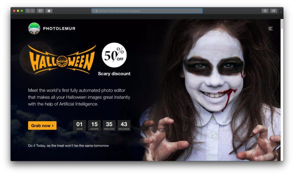 Ihr wollt Photolemur 3 günstiger kaufen? Dann nutzt jetzt den Halloween-Deal, um den Download der Fotobearbeitung-App mit 50% Rabatt zu genießen ;)