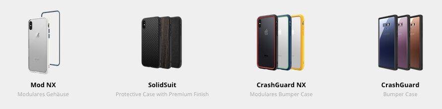 Übersicht der aktuellen RhinoShield iPhone Hüllen: Mod NX, SolidSuit, CrashGuard NX und CrashGuard (Grafik: RhinoShield).