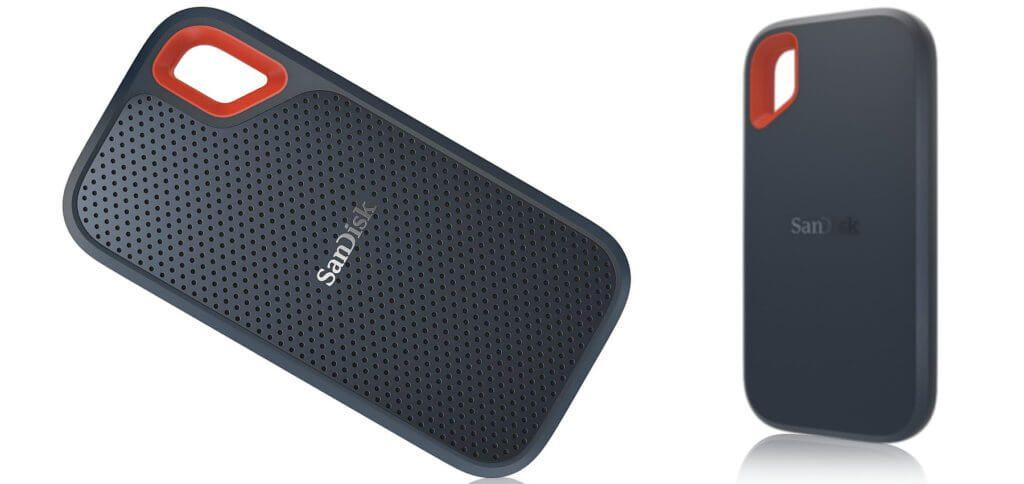 Die SanDisk Extreme Portable SSD ist eine kleine, robuste und nach Schutzart IP55 zertifizierte Festplatte. Der externe Speicher ist von 250 GB bis 2 TB erhältlich. Technische Details und Test-Ergebnisse findet ihr hier. Bilder: SanDisk / Amazon