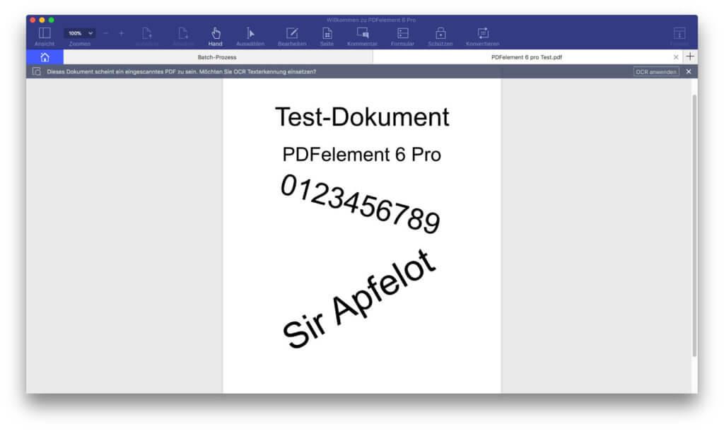 Das Test-Dokument in der Rohfassung (ohne OCR)