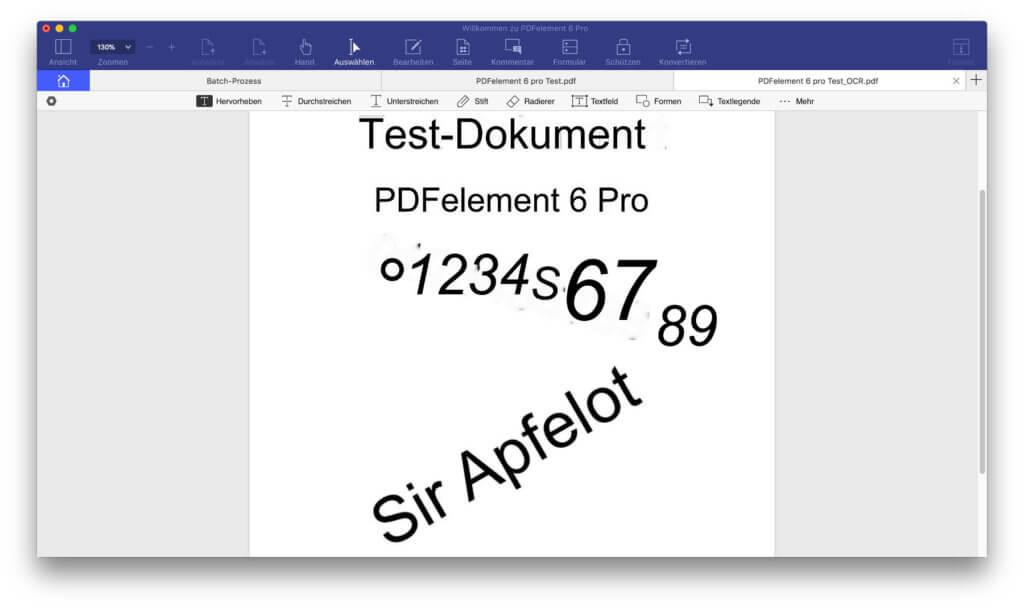 Je nach gewählter Auflösung (dpi) für die OCR-Anwendung in PDFelement 6 Pro ergeben sich verschiedene Ergebnisse...