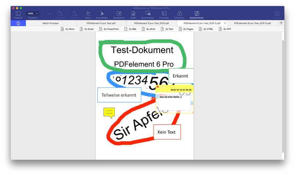 Text markieren, malen, Textfelder erzeugen, Notizen hinzufügen und mehr ist ebenfalls möglich.
