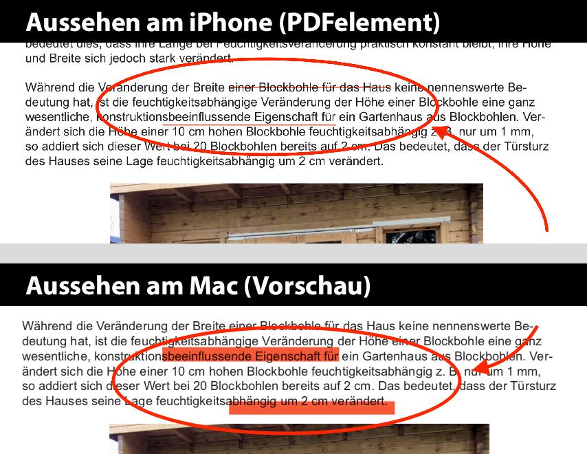 In meinem Test habe ich in der iPhone-App (oben) im Text Unterstreichungen und Durchstreichungen erstellt, die leider im fertigen PDF am Mac nicht mehr an der richtigen Stelle sind und auch nicht mehr als durchgestrichener oder unterstrichener Text erkennbar sind.