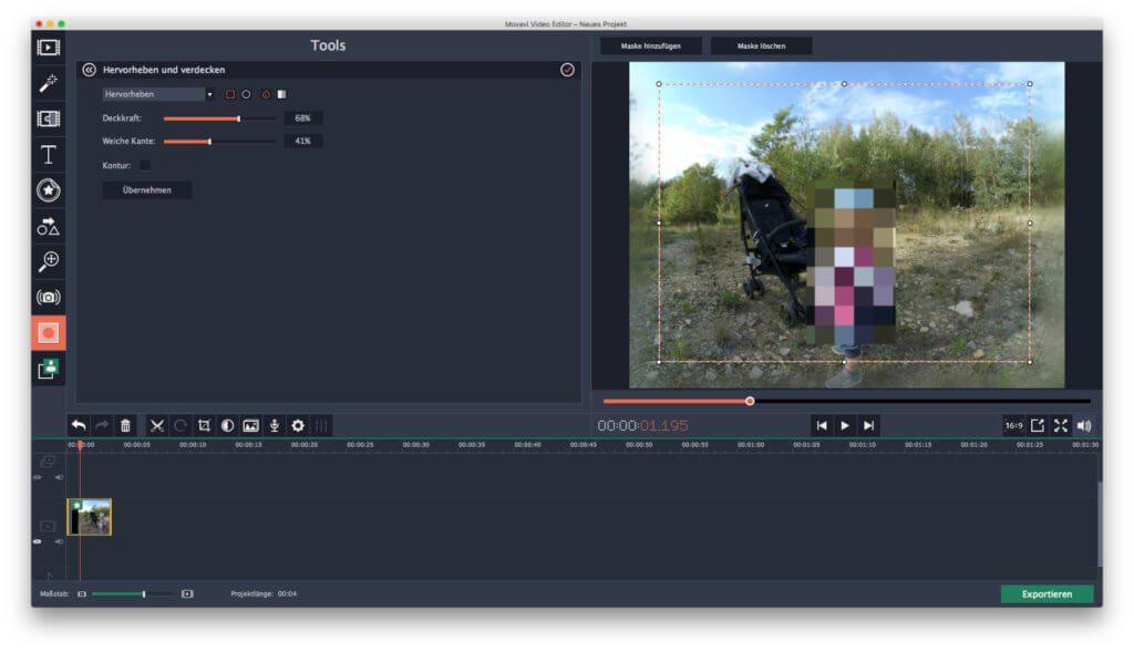 Videobereiche verpixeln, weichzeichnen oder hervorheben - auch das geht mit der App für die Videobearbeitung am Mac.