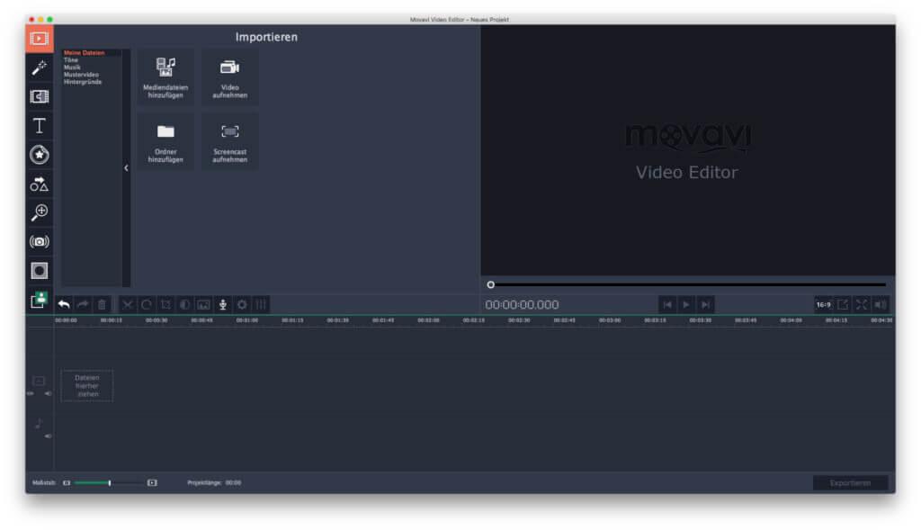 Will man mit dem Movavi Video Editor 5 Videos bearbeiten, erstellen, kombinieren und exportieren, dann gilt es, zuerst Dateien zu importieren ;)