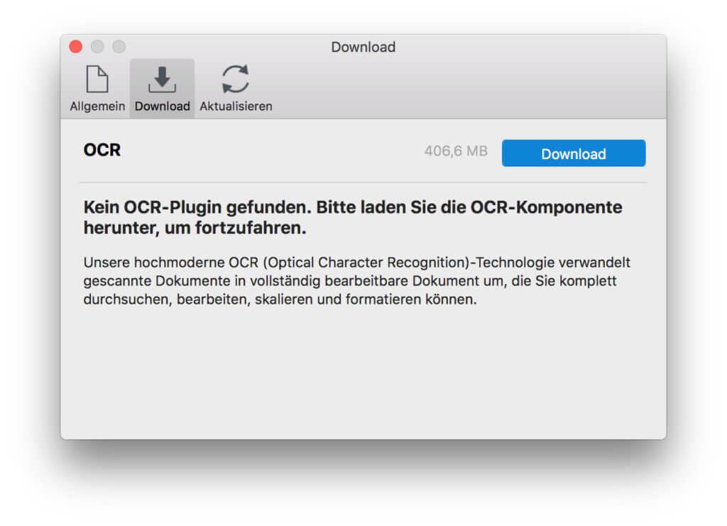 Einige Funktionen von Wondershare PDFelement 6 Pro für den Mac müssen extra installiert werden.