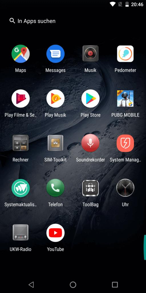 So sieht die App-Übersicht aus. Natürlich lassen sich auch hellere Hintergrundbilder einrichten.