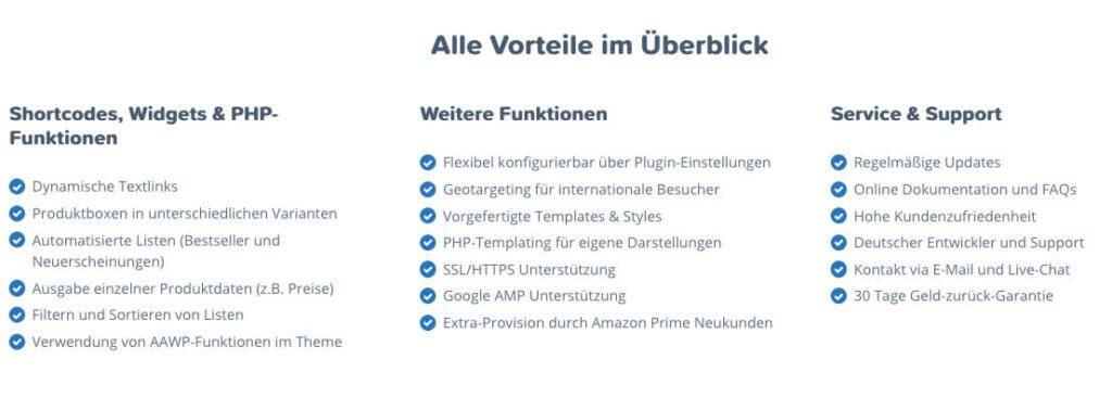 Die in aller Kürze noch die Vorteile, die das AAWP-Plugin für WordPress bietet – direkt von Florians Webseite gemopst. ;-)