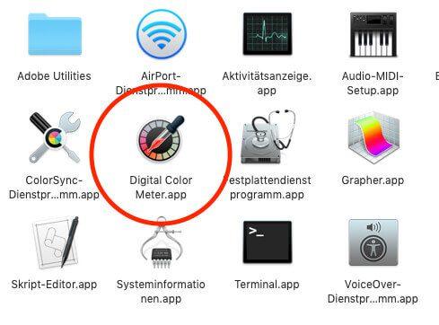 """Die Apple-Lösung zur Farbermittlung nennen sich """"Digital Color Meter"""" und ist im Ordner Dienstprogramme zu finden."""