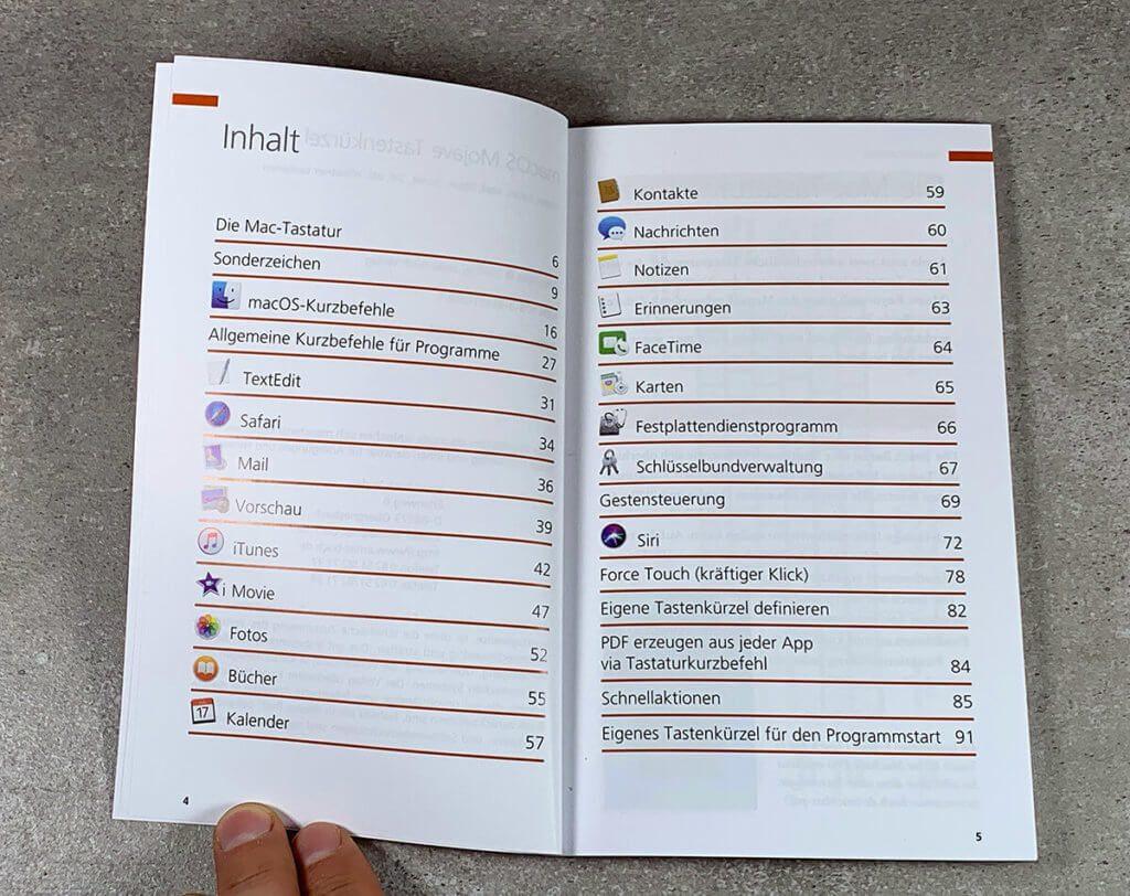 Das Inhaltsverzeichnis des Buches zeigt schon, dass es hier nicht nur um Tastenkombinationen für macOS und den Finder geht. Aus dem Grund hat das Buch auch fast 100 Seiten Inhalt.