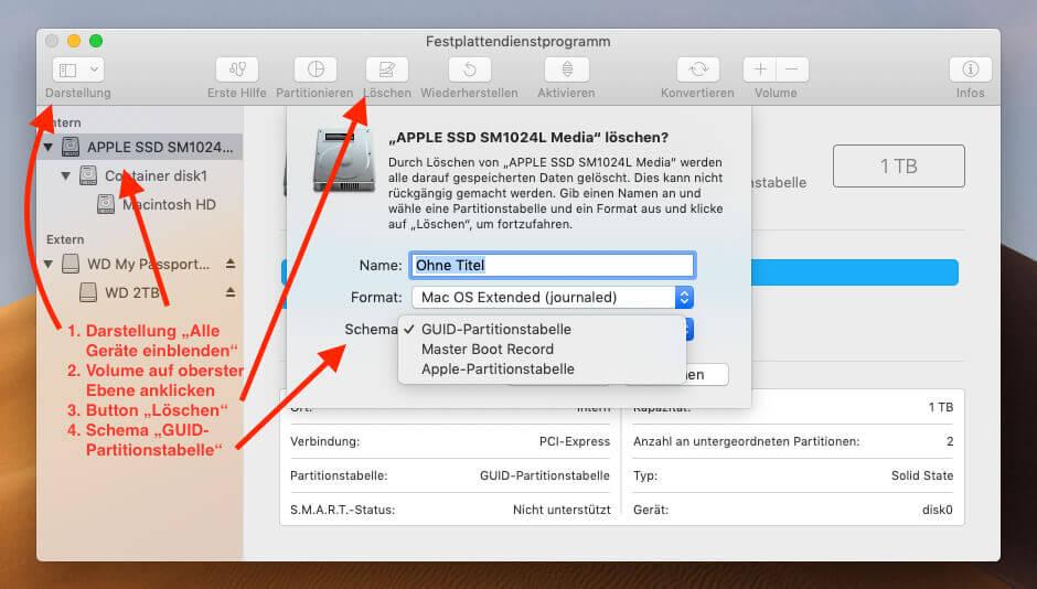 Festplatte als APFS formatieren: Die komplette Anleitung in einem Screenshot. ;-)
