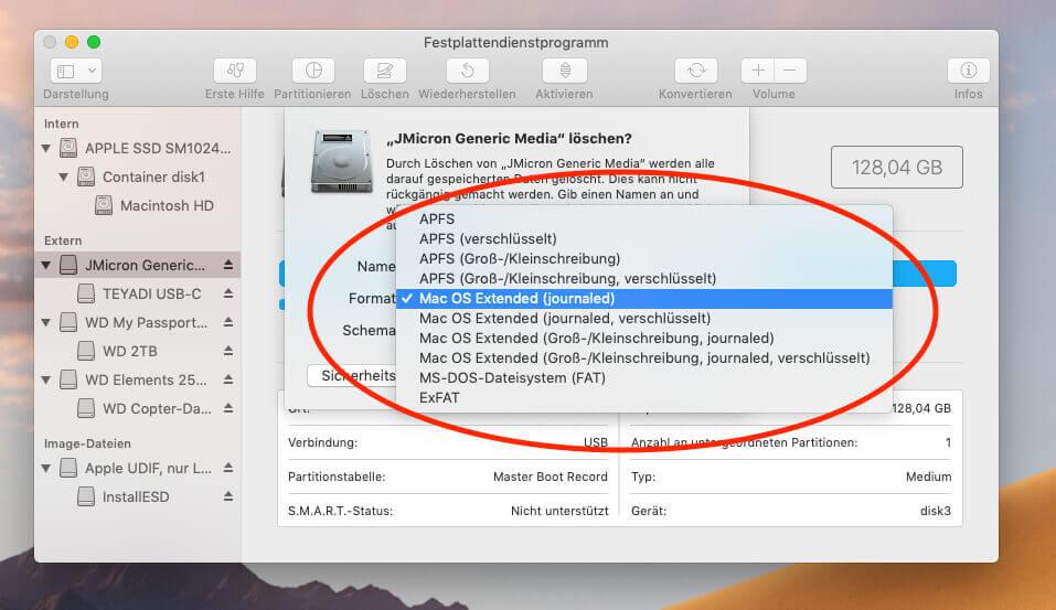Nach der Auswahl des GUID-Schema läßt sich auch APFS als Dateisystem-Format auswählen.
