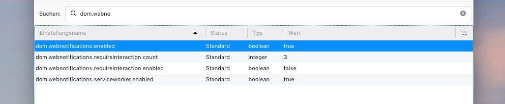 """Hat man den Warnhinweis zur Kenntnis genommen, sucht man sich den ersten Eintrag """"dom.webnotifications.enabled"""" und setzt diesen auf """"false"""" (per Doppelklick)."""