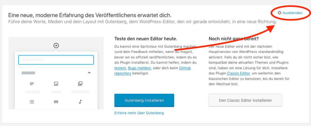 Dashboard-Hinweis auf den neuen Gutenberg-Editor entfernen – so geht es!