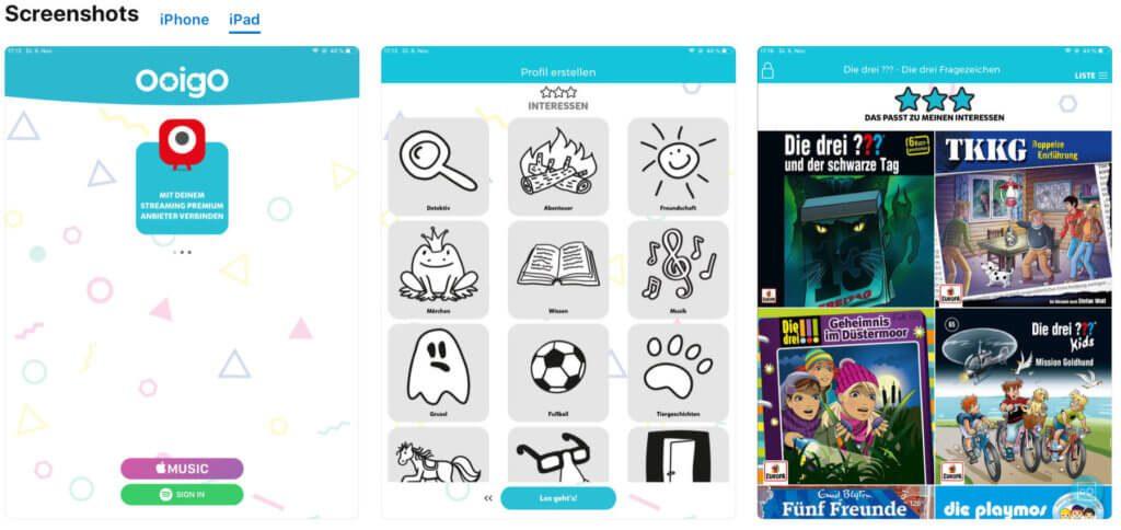 Mit der Ooigo App lassen sich kinderleicht und nach Interessen sortiert Kinderhörspiele, Hörbücher und Musik für Kinder finden.