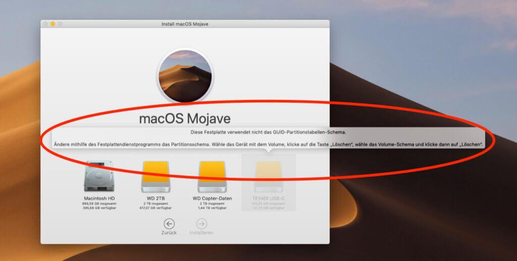 macOS Mojave läßt sich nur installieren, wenn die Festplatte das GUID-Partitionstabellen-Schema verwendet.