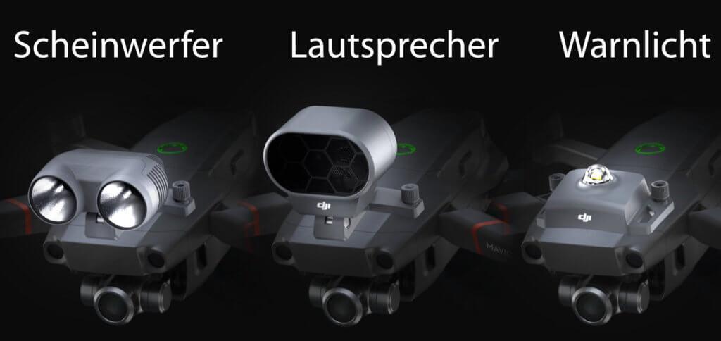 Das DJI Mavic 2 Enterprise Zubehör umfasst einen M2E Scheinwerfer, einen M2E Lautsprecher und ein M2E Kollisionswarnlicht. Bilderquelle: DJI