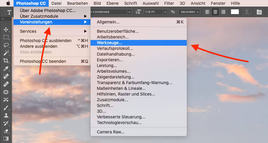 Die passende Option findet man in Voreinstellungen -> Werkzeuge in Photoshop.