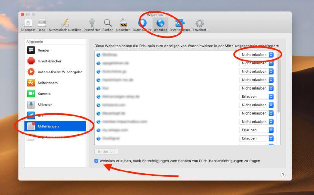 Die Einstellungen für Push-Nachrichten in Safari findet man unter dem Reiter Websites und Mitteilungen. Entfernt man das Häckchen unten im Screenshot, kann man sicher sein, dass man auch in Zukunft nicht mehr mit der Frage nach der Erlaubnis für Push-Nachrichten belästigt wird.