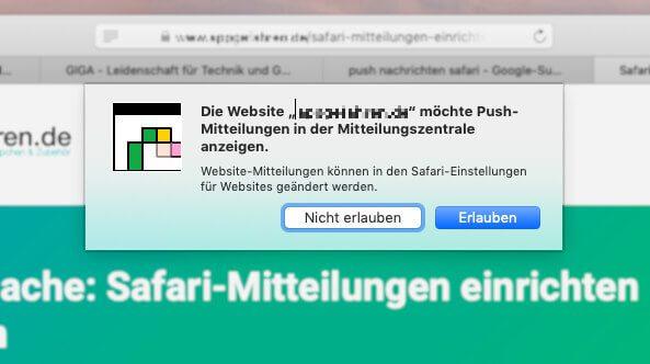 Ein Beispiel für Push-Nachrichten von Webseiten in Safari. Solche Popup-Fenster nerven oft beim Surfen.