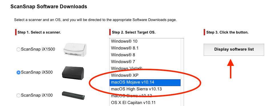 Auf der Download-Seite von Fujitsu findet man die neue ScanSnap Software für macOS Mojave.