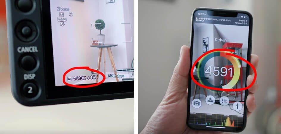 Die beiden Screenshots sind aus dem oben genannten Video und zeigen, dass die LightSpectrum Pro App recht nah an der Messung der Canon Kamera ist.