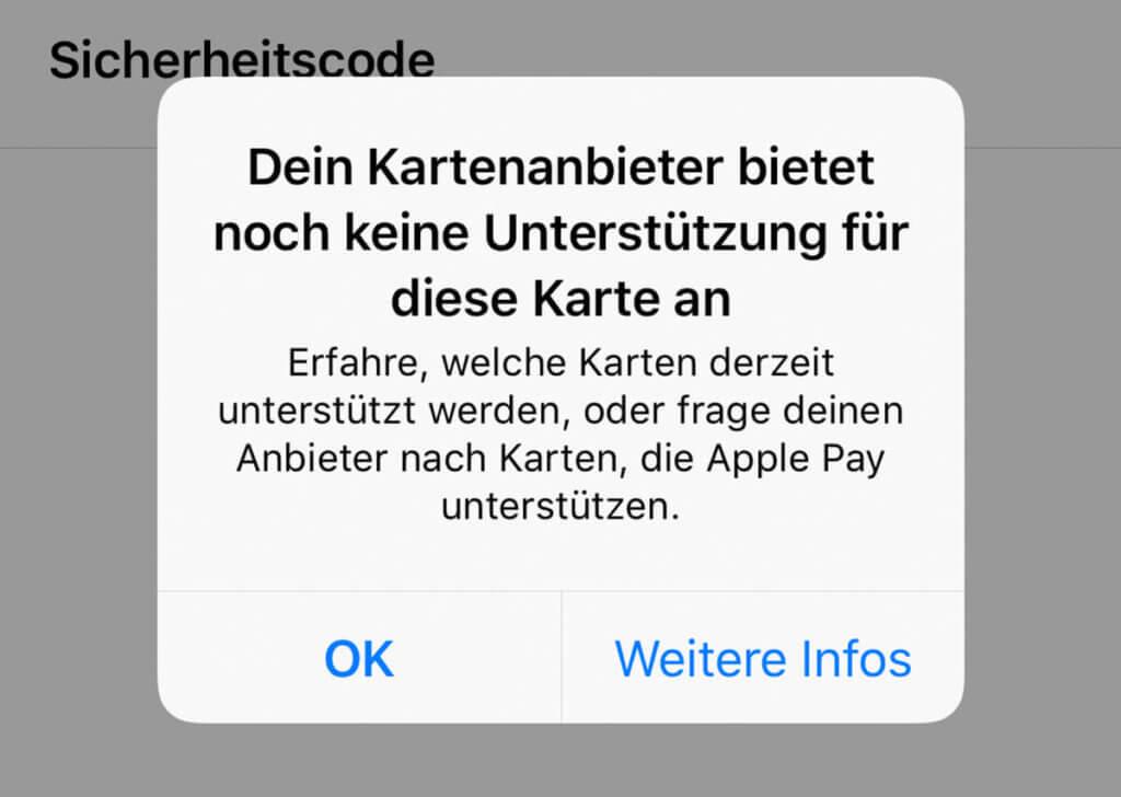 Die Sparkasse bietet leider keine Unterstützung für Apple Pay – sehr schade…