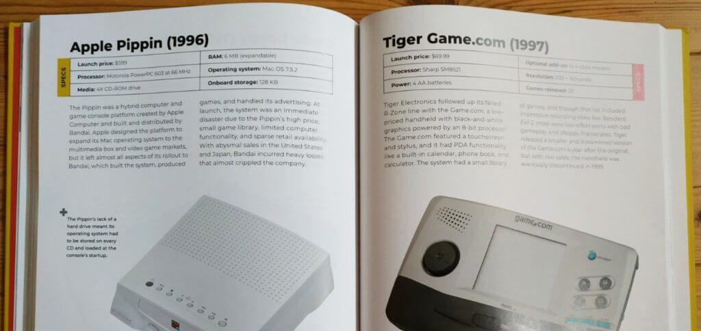 Dem Apple Pippin wird ebenfalls eine Seite gewidmet. Die Flop-Konsole ohne eigenen Speicher wurde mit Hilfe von Bandai entwickelt und vermarktet.