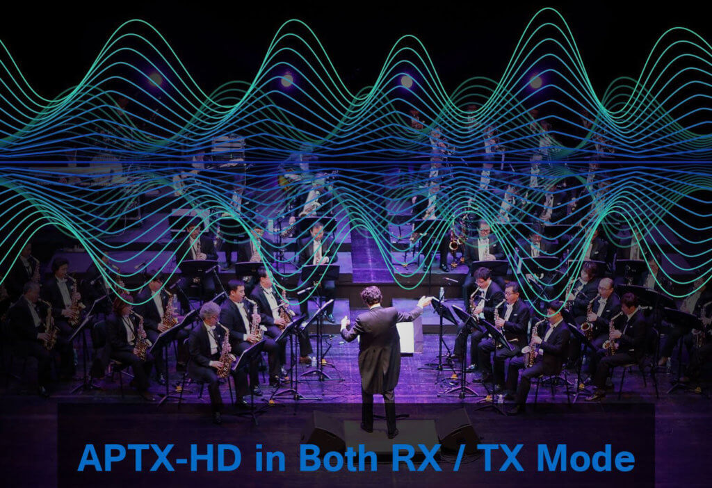 """Der HiGoing bietet mit aptX-HD einen Audiocodec, der deutlich besser klingt als der übliche aptX, den man in Bluetooth-Kopfhörern unterstützt. """"CD like"""", wie es in der Werbung angepriesen wird, kann es aufgrund technischer Beschränkungen jedoch nie sein (Grafik: Amazon)."""