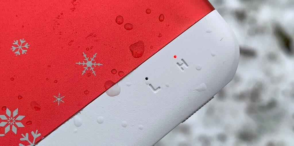Die Heizstufe stellt man beim BigBlue über einen Schiebeschalter ein. Welche Stufe gerade aktiv ist, erkennt man an der L/H-Anzeige mit der roten LED.