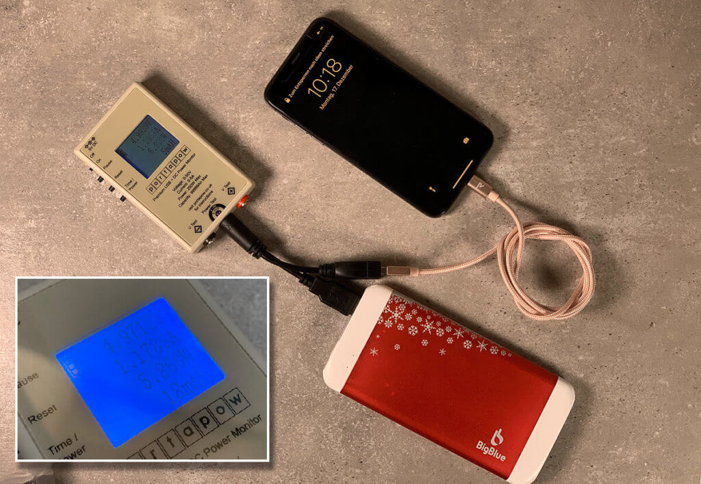 Bei meiner Messung hat der USB Handwärmer das iPhone X mit ca. 5,6 Watt geladen – nicht so schnell, wie an meiner Zendure Powerbank, aber schnell genug, um es im Betrieb zu füllen.