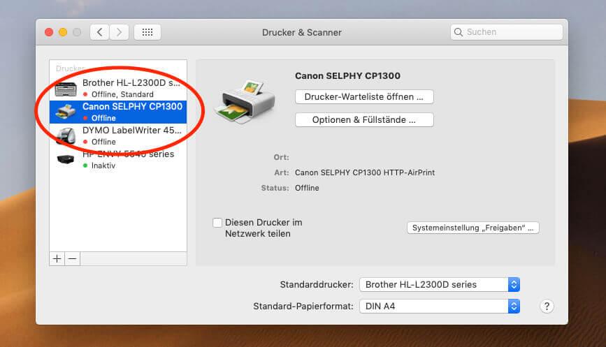 Unter macOS (bei mir Mojave) findet man den Selphy ohne Treiberinstallation und kann ihn direkt zur Liste der Drucker hinzufügen.