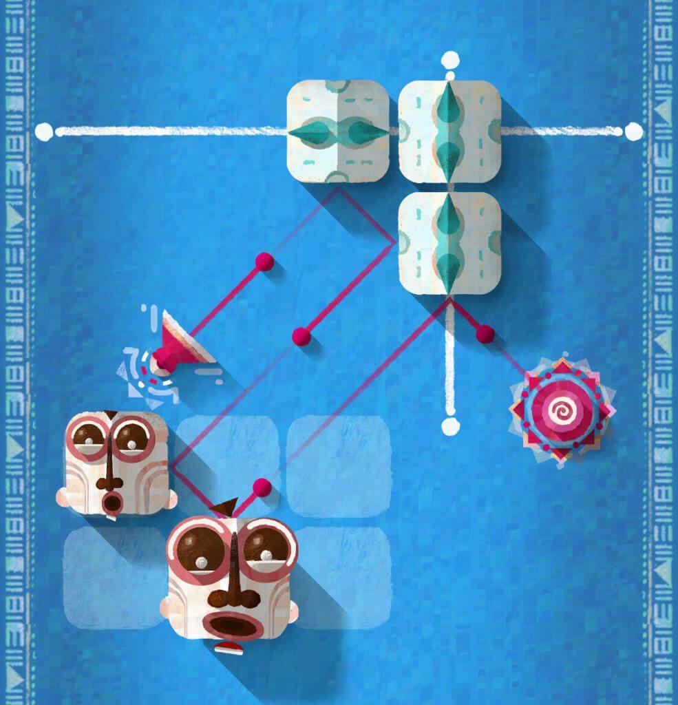 Hier ein Screenshot von einem Level aus ELOH: Mit den Schiebeelementen und den beweglichen Masken müssen die Kugeln in den Kreis befördert werden.